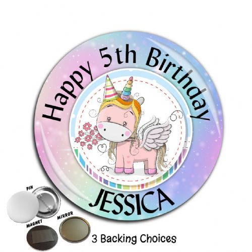 Personalised Rainbow Unicorn Happy Birthday Badge N12  Large 75mm